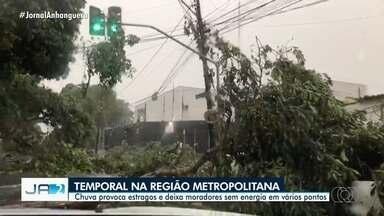 Chuva provoca estragos e deixa moradores sem energia em vários pontos da Grande Goiânia - Árvores caíram e telhados foram danificados.