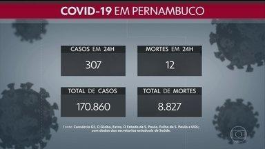 Pernambuco chega a 170.680 casos e 8.827 mortes por Covid-19 - Boletim do domingo (15) teve o registro de mais 307 pessoas com a doença e 12 óbitos.