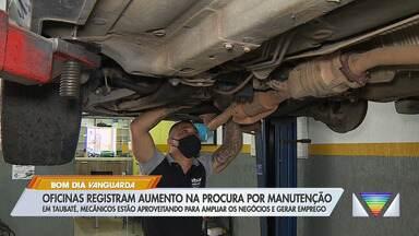 Oficinas mecânicas registram aumento na procura por manutenção - Em Taubaté, mecânicos estão aproveitando para ampliar os negócios e gerar emprego.