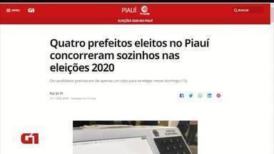 Quatro prefeitos eleitos concorreram sozinhos nas Eleições municipais no Piauí - Quatro prefeitos eleitos concorreram sozinhos nas Eleições municipais no Piauí