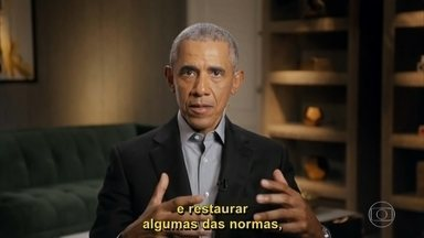 Pedro Bial quis saber o que Obama achou de sua visita ao Brasil - O ex presidente esteve no Cristo Redentor