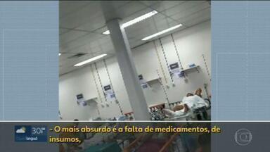 Funcionários denunciam falta de medicamentos e superlotação no Hospital de Saracuruna - Em Caxias, os problemas no Hospital de Saracuruna não são de hoje. Agora, funcionários denunciam a falta de material e remédios para cuidar dos pacientes internados, e o pior é que o hospital está superlotado.