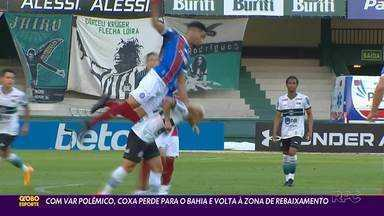 Erros e VAR marcam derrota do Coritiba para o Bahia - Coxa volta à zona de rebaixamento do Campeonato Brasileiro após perder de virada no Couto Pereira