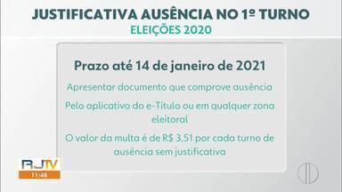 Veja como justificar a ausência na votação do 1º turno das Eleições 2020 - Prazo é até dia 14 de janeiro de 2021 pelo aplicativo e-Título ou em qualquer zona eleitoral.