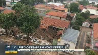 Prédio antigo onde funcionava tecelagem desaba em Nova Odessa - Prédio desabou na manhã desta quarta-feira (18). Moradores já haviam alertado a Defesa Civil sobre o risco do imóvel.