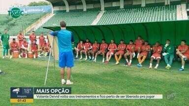 Volante Deivid se recuperou e pode ser possibilidade de escalação para o Guarani - Jogador teve uma contusão no joelho e não atua pelo time desde a 16ª rodada do Campeonato Brasileiro Série B.