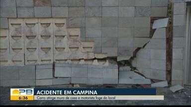 Motorista bate em muro e foge do local, em Campina Grande - Câmeras de segurança registraram momento da batida