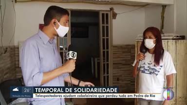 Telespectadores ajudam cabeleireira que perdeu tudo após forte chuva em Petrópolis, no RJ - Telespectadores se solidarizaram com a situação da cabeleireira e resolveram ajudar.