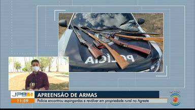 Polícia apreende espingardas e revólver em propriedade rural no Agreste da PB - Apreensão aconteceu em Ingá.