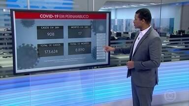 Pernambuco confirma mais 908 casos e 17 mortes por Covid-19 - São, ao todo, 173.624 confirmações e 8.890 óbitos.