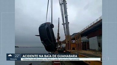 Acidente no Porto do Rio causa a morte de 4 trabalhadores. - Os quatro estavam em um carro de serviço de uma prestadora de serviço, quando o veículo desgovernado caiu na baía de Guanabara. Um quinto ocupante do carro sobreviveu.