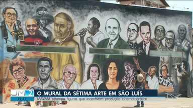 Mural com personalidades da história e cultura maranhense no cinema é finalizado - Obra fica em São Luís e valoriza a cultura do estado.