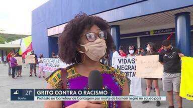 Contagem tem protesto contra racismo - Manifestação foi motivada por assassinato de um homem por seguranças de rede de supermercados, no sul do país.