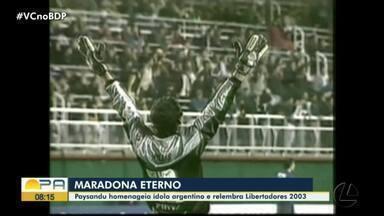 Adeus a Maradona: ex-jogadores e jornalistas relembram momentos do craque argentino - Ronaldo Willis, ex-goleiro do Paysandu, conta sobre jogo na Bomboneira em que viu o ídolo do Boca Juniors. Roberto Segundo e João Gabriel falam de passagens marcantes e polêmicas do atacante.