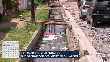 Moradores da Vila Popular reclamam de buracos, sujeira e esgoto - Situação é acompanhada pelo Calendário do NE1.