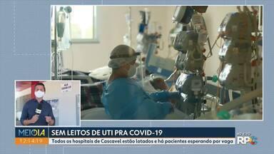 Leitos de UTI adulto do SUS para Covid-19 em Cascavel chegam à lotação máxima - Os 46 leitos para pacientes com coronavírus ou suspeita da doença chegaram a 100% de lotação na noite de quarta-feira (9).