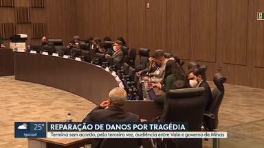 Termina sem acordo, mais uma vez, reunião entre governo de Minas e Vale - Reunião discutiu reparação dos danos por causa do rompimento da barragem em Brumadinho. Atingidos protestaram em frente ao Tribunal de Justiça, onde a reunião era realizada.