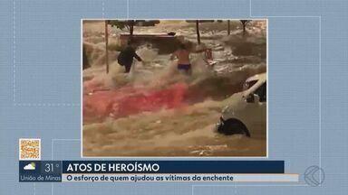 Atos de heroísmo são flagrados durante chuva e alagamento em Uberlândia - MG1 mostra pessoas que arriscaram a vida para ajudar vítimas da enchente de terça-feira.