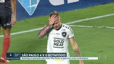 Na vice-lanterna, Botafogo é goleado pelo líder São Paulo e segue em crise no Brasileirão - No Vasco, grupo invade o centro de treinamento e cobra os jogadores e o técnico Sá Pinto.