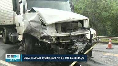 Duas pessoas morrem em acidente na BR-101, em Ibiraçu, ES - Assista a seguir.