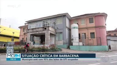Covid-19: Barbacena está com 95% dos leitos de UTI ocupados - Este índice registrado esta semana é o maior desde o início da pandemia na cidade. Autoridades de saúde também falam sobre falta de insumos.