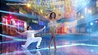 """Lucy Ramos e Reginaldo Sama dançam a música """"Tá Escrito"""" - Samba é o ritmo desde domingo no Dança dos Famosos"""