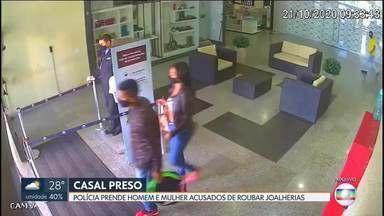 Polícia Civil prende casal suspeito de roubar joalherias - De acordo com a investigação, o casal assaltou duas joalherias em outubro, em shoppings da Asa Norte e de Águas Claras. Em um dos crimes, uma vítima acabou baleada.