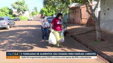 Cufa arrecada 2 toneladas de alimentos para famílias carentes - A arrecadação e doação e contou com apoio da PM e voluntários.