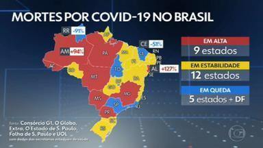 Brasil registra 276 mortes por Covid-19 em 24 horas - A média móvel de mortes nos últimos sete dias está em 636, sem variação em comparação à média de 14 dias atrás.