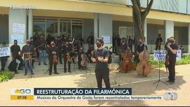 Músicos da Orquestra de Goiás são recontratados temporariamente - Eles estavam com contratos vencidos e sem receber desde novembro.