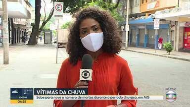 Sobe para nove o número de mortos durante o período chuvoso, em Minas Gerais - Boletim da Defesa Civil ainda não contabilizou as mortes de pai e filho atingidos por raio.
