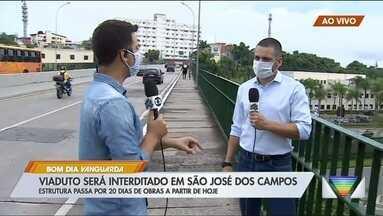 Viaduto é interditado em São José dos Campos - Estrutura passa por 20 dias de obras a partir desta segunda