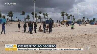 Fim de semana de verão tem praias cheias em Salvador; Guarda Municipal mantém fiscalização - A utilização das praias está proibida aos domingos, para evitar aglomerações em meio à pandemia.