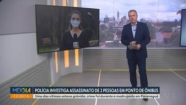 Polícia investiga morte de duas pessoas em ponto de ônibus em Paranaguá - Umas das vítimas estava grávida.