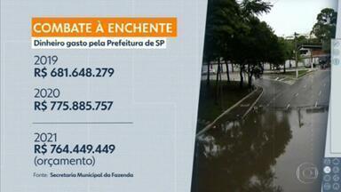 Verba de combate às enchentes na capital tem redução de R$ 11 milhões em relação a 2020 - Os dados são da Secretaria municipal de Fazenda.