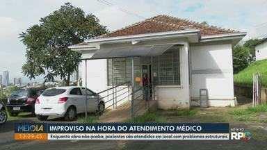Posto de saúde improvisado gera reclamações em Ponta Grossa - O refeitório da UBS onde são atendidos os pacientes da Vila Coronel Cláudio, está cheio de goteiras e infiltrações.