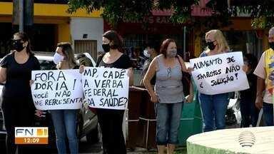 Classificação na fase laranja do Plano São Paulo gera protesto em Dracena - Manifestantes fazem reivindicações.