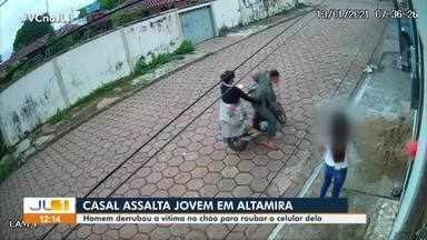 Em Altamira, casal de criminosos agride e assalta jovem - Toda a ação foi flagrada por câmera de segurança.