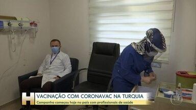 Começa vacinação com CoronaVac na Turquia - Vacina é a mesma desenvolvida pelo Instituto Butantan em parceria com a chinesa Sinovac.