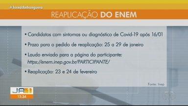Estudantes com Covid-19 podem pedir reaplicação do Enem; veja como - Pedido pode ser feito na página do participante a partir do dia 25.