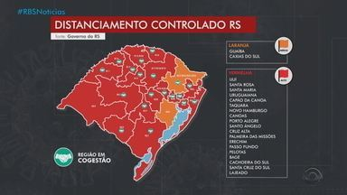 Mapa do distanciamento tem 86% do RS com risco alto de contaminação para a Covid-19 - Apenas as regiões de Caxias do Sul e Guaíba estão em bandeira laranja, de risco médio. Outras 19 regiões ficam em bandeira vermelha.