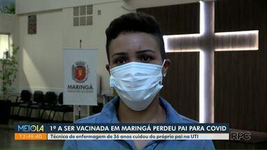 Primeira a ser vacinada em Maringá perdeu o pai para a Covid - Técnica de enfermagem de 36 anos cuidou do próprio pai na UTI.