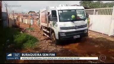 Chuva deixa estragos no asfalto de várias regiões do DF - Sol Nascente e Samambaia são algumas das regiões que sofrem com a buraqueira.