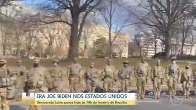 Veja como foi o dia de Joe Biden antes de tomar posse nos EUA - A correspondente Raquel Krahenbul acompanha a posse. Ela é a única jornalista estrangeira a cobrir a posse no seleto grupo de jornalistas que ficará perto de Biden.
