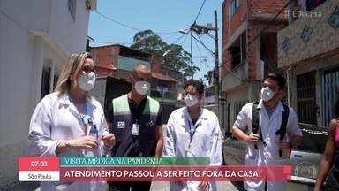 Veja como está sendo o trabalho dos médicos de família durante a pandemia - Coronavírus mudou a rotina da visitação domiciliar e o atendimento passou a ser feito fora de casa. Sistema público de saúde é fundamental para os brasileiros