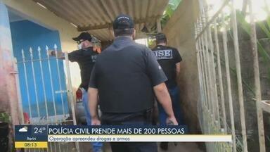 Operação da Polícia Civil prende mais de 200 pessoas na Baixada Santista - Equipes também apreenderam drogas e armas na região.