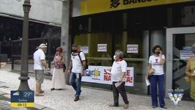 Funcionários do Banco do Brasil iniciaram paralisação de 24 horas - O protesto é contra a ação do Governo Federal em fechar unidades.