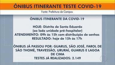 Ônibus de testagem de Covid-19 em Campos está no distrito de Santo Eduardo nesta sexta - Testagem itinerante percorre a cidade durante a semana.
