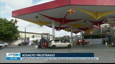 Bandidos são presos ao tentar assaltar posto de combustível em Mangabeira - Bando chegou a colocar o cofre dentro do carro, mas acabou preso quando tentava fugir.