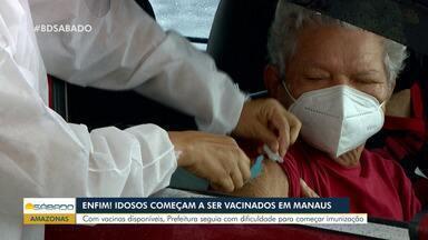 Em Manaus, idosos começam a ser vacinados contra a Covid-19 - Em Manaus, idosos começam a ser vacinados contra a Covid-19.
